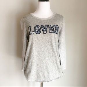 J. Crew LOVED Gray 3/4th Sleeved Baseball Top